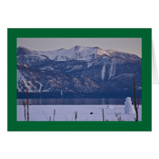 Muñeco de nieve en el borde del lago Tahoe Tarjeta De Felicitación
