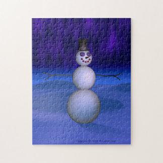 Muñeco de nieve en la noche puzzle