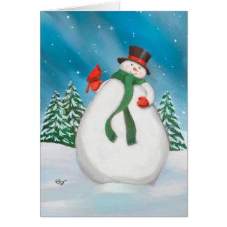 Muñeco de nieve en la tarjeta de felicitación del