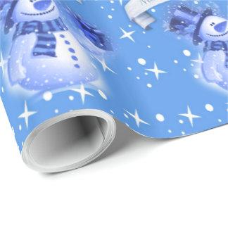 Muñeco de nieve en modelo azul escarchado papel de regalo