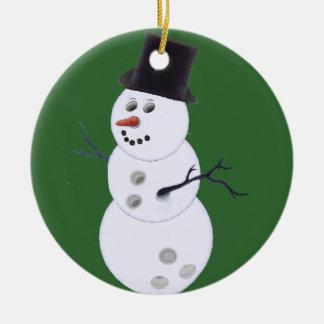 Muñeco de nieve feliz de Bowlidays Adorno Navideño Redondo De Cerámica