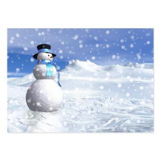 Muñeco de nieve feliz en invierno tarjetas de visita grandes