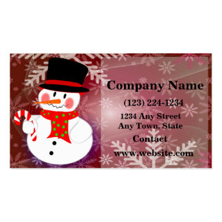 Muñeco de nieve feliz tarjetas de visita