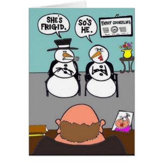 Muñeco de nieve frígido tarjeta de felicitación