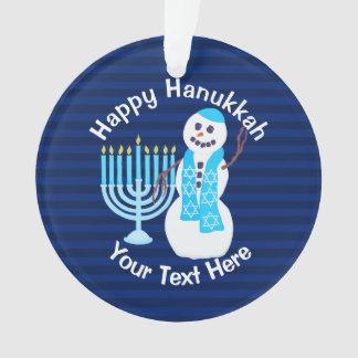 Muñeco de nieve judío y Menorah azul Hanukiah de