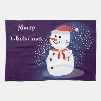 muñeco de nieve lindo rústico de las Felices Toalla De Mano
