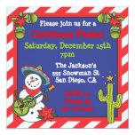 Muñeco de nieve mexicano al sudoeste Feliz Navidad Invitación 13,3 Cm X 13,3cm