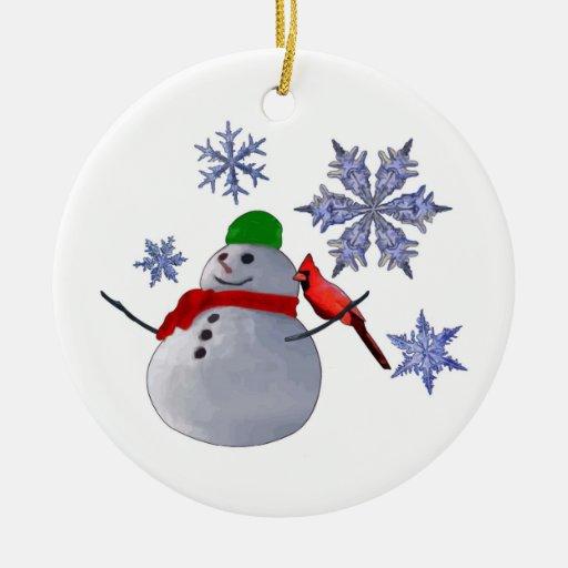 Mu eco de nieve adorno redondo de cer mica zazzle - Nieve para arbol de navidad ...