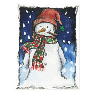 Muñeco de nieve - postal de Navidad