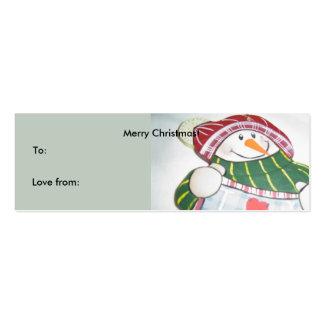 Muñeco de nieve que lleva a cabo una muestra tarjetas de visita mini