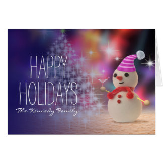 Muñeco de nieve que sostiene el vidrio tarjeta de felicitación