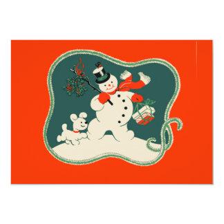 Muñeco de nieve retro invitación 12,7 x 17,8 cm