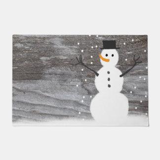 muñeco de nieve rústico del navidad de la puerta