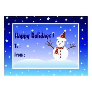 Muñeco de nieve - tarjeta de etiqueta del regalo plantillas de tarjeta de negocio