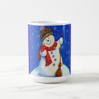 Muñeco de nieve taza básica blanca