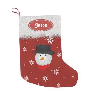 Muñeco de nieve y copos de nieve lindos - medias calcetín de navidad pequeño