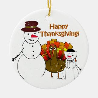 Muñecos de nieve de la acción de gracias ornaments para arbol de navidad