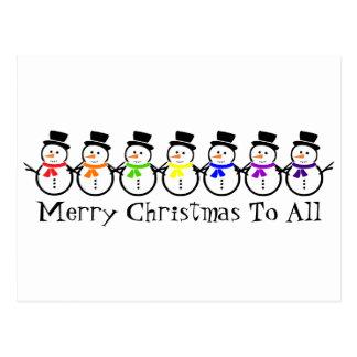 Muñecos de nieve del arco iris de las Felices Postal