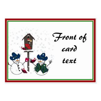 Muñecos de nieve del navidad con los gorras de tarjetas de visita grandes