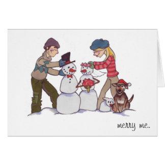 """Muñecos de nieve del recién casado """"felices yo """" tarjeta"""
