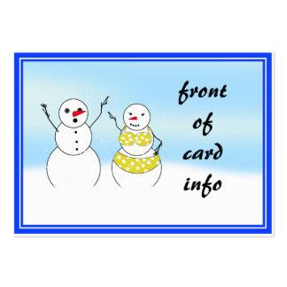 Muñecos de nieve del tiempo del bikini tarjetas de visita