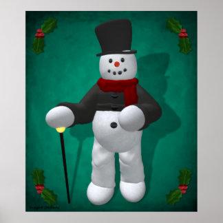 Muñecos de nieve del vintage Señor Cool Poster