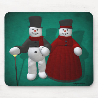 Muñecos de nieve del vintage: Señor y señora Cool Alfombrilla De Ratón