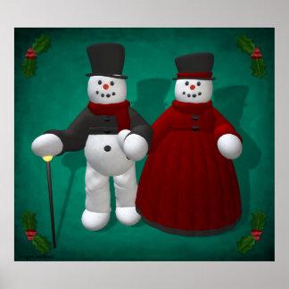 Muñecos de nieve del vintage: Señor y señora Cool Póster