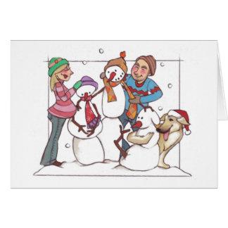Muñecos de nieve embarazadas Notecard Tarjeta Pequeña