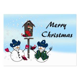 Muñecos de nieve que llevan los gorras de vaquero tarjetas de visita grandes