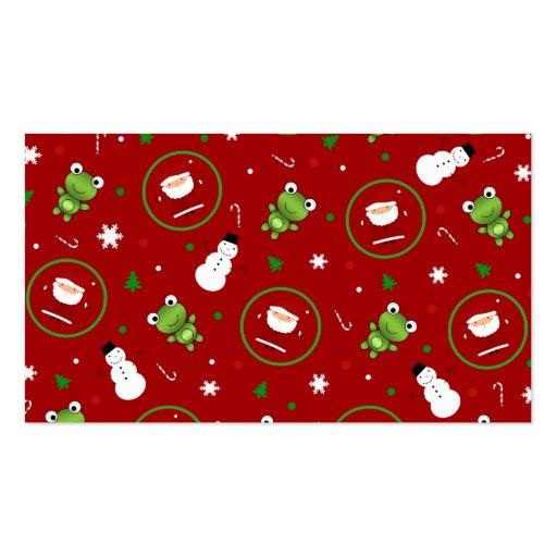 Muñecos de nieve rojos de Papá Noel de las ranas Plantillas De Tarjetas Personales