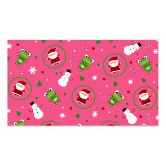 Muñecos de nieve rosados de Papá Noel de las ranas Tarjetas De Negocios