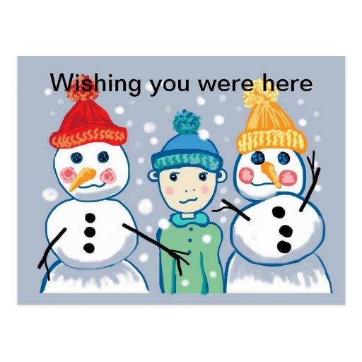 muñecos de nieve y postal de las gorritas tejidas