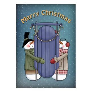 Muñecos de nieve y trineo de las Felices Navidad Tarjetas De Visita Grandes