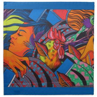 Mural de la pared de la mujer y del pollo servilleta de tela