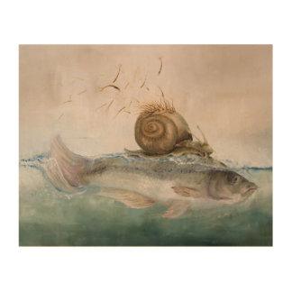 mural de madera de especie del pez de caracol de á impresiones en madera