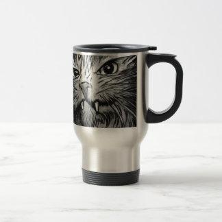 Mural enojado del gato taza de café