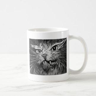 Mural enojado del gato taza