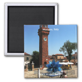 Murano, torre de reloj de Italia y escultura del v Imanes