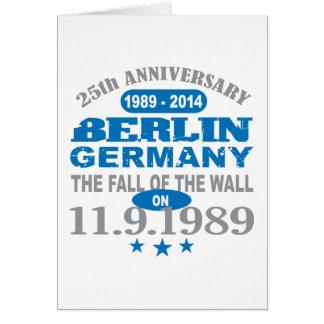 Muro de Berlín Alemania aniversario de 25 años Tarjeta