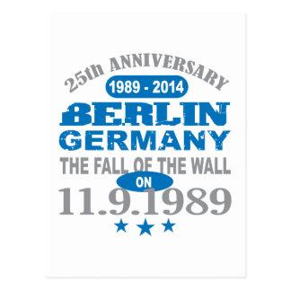 Muro de Berlín Alemania aniversario de 25 años Postal