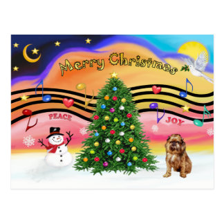 Música 2 del navidad - Bruselas Griffon 1 Postal