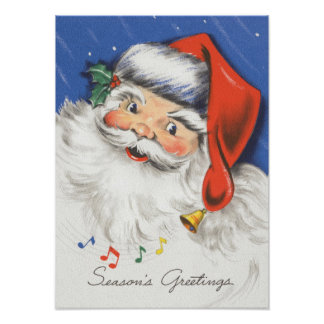 Música alegre de Papá Noel w del navidad del vinta Poster