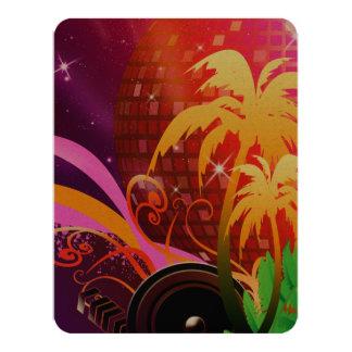 Música, bola de discoteca colorida con el altavoz, invitación 10,8 x 13,9 cm