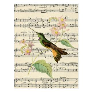 música botánica del colibrí de la postal del