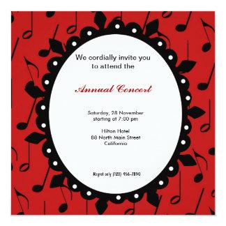 Música de concierto invitación 13,3 cm x 13,3cm