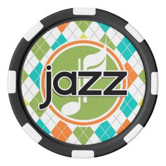 Música de jazz; Modelo colorido de Argyle Fichas De Póquer