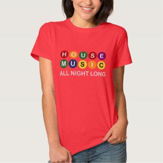 Música de la casa durante toda la noche (rojo) camisas