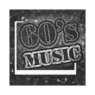 Música de los años 60 del vintage - lona envuelta impresion de lienzo
