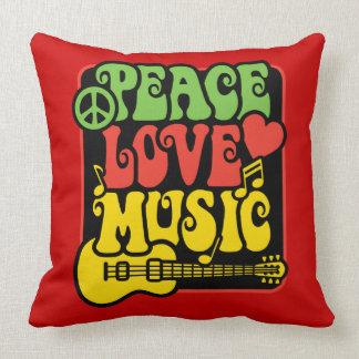 Música del amor de la paz de Rasta Cojines